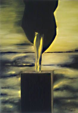 """The Power"" November 18,2014 50 cm x 70 cm  Oil on Canvas My vision about should be  a powerful people  ; See the world from the sky completely alone with a black clothes and all this in a yellow and black color"