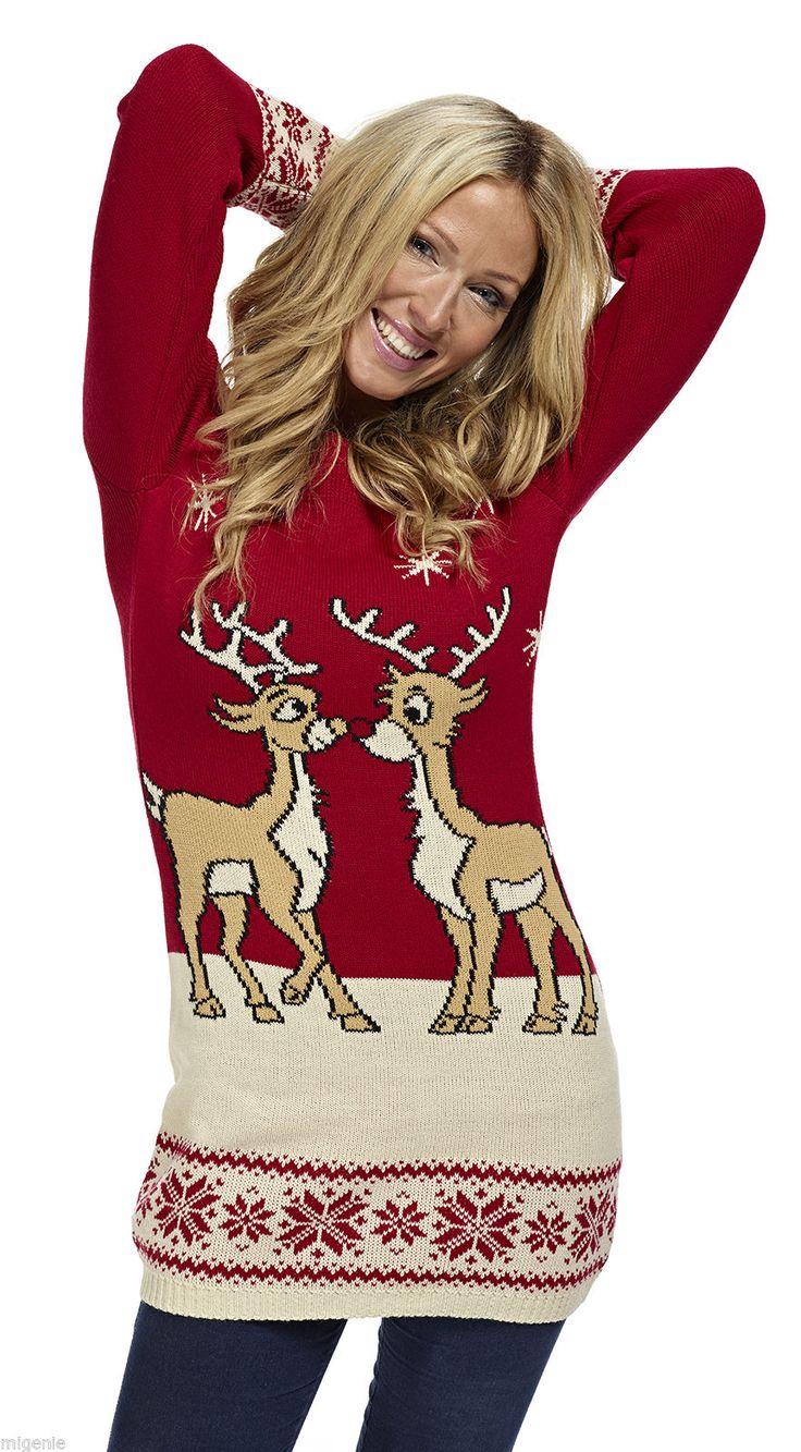 Kersttrui/tuniek 2 rendieren rood - Kersttrui kopen - Bestel nu uw foute kersttruien online