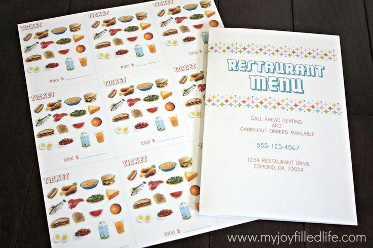 Pretend restaurant printables