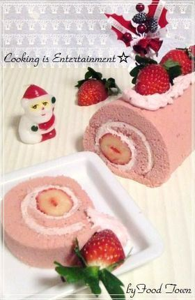 Pink champagne role of snow strawberry: Champagne Role, Cakes Rolls, Deco Swiss Jelly Rolls, Logs Cakes, De Noel Sponge, Noel Sponge Cakes, Decor Rolls, Ideia Para, Beautiful Rolls