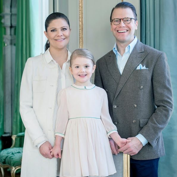 Princess Victoria and Prince Daniel pose with their daughter, Princess Estelle, from New My Royals blog (23 February 2016). Princess Estelle turns 4.