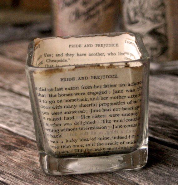 Jane Austen book candle hoder--book votive holder--gifts for writers--gifts for readers--Jane Austen---Book lovers---gifts for writers
