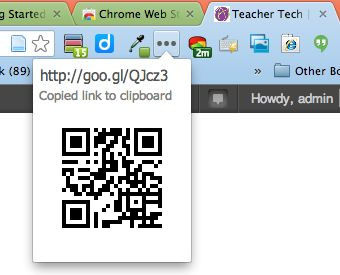 Creating a Short URL and a QR Code using the ShortenMe Chrome Web Extension