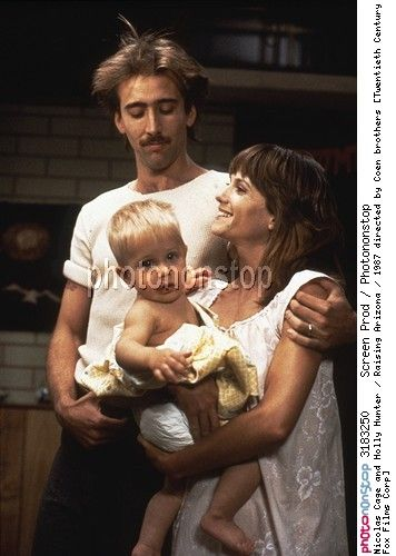 Nicolas Cage and Holly Hunter / Raising Arizona / 1987 directed by Coen brothers [Twentieth Century Fox Films Corp]