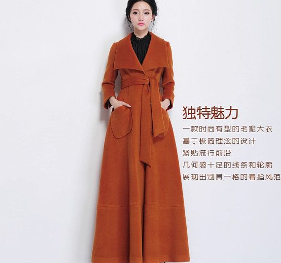 Winter Brown Wool Coat Woolen Overcoat Formal Gown Outerwear Long