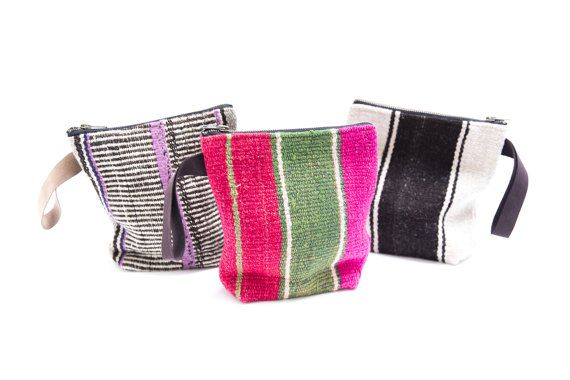 Vintage Bolivian stripes clutch with suede por PaulinaBarcelona