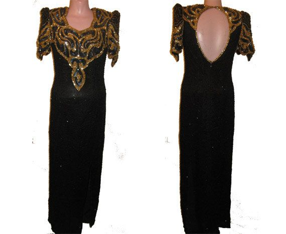 Long black and gold gown 326 by MsVintageWear on Etsy