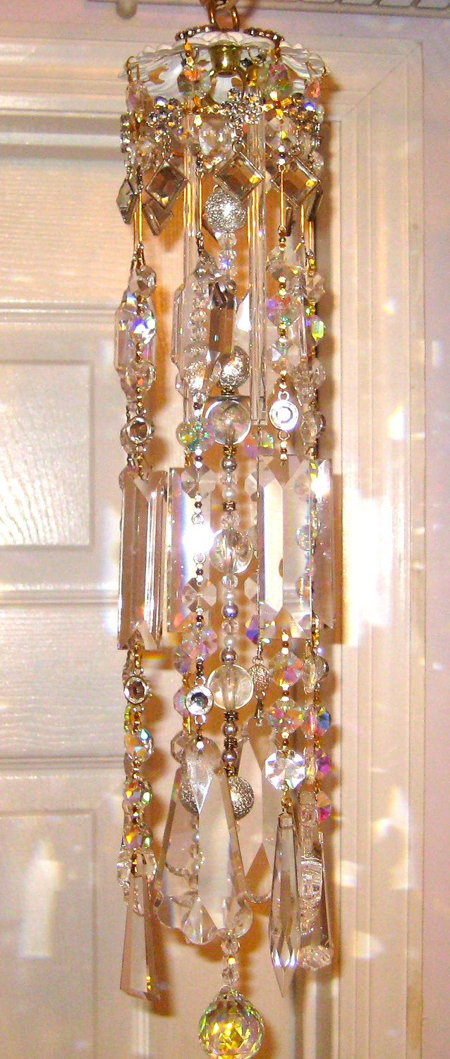 Crystal Prism Wind Chime Indoor or Outdoor - Handmade - Clearly Elegant. $149.99, via Etsy.