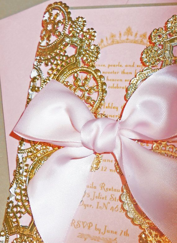Laser Cut Pink & Gold Princess Themed Baby Shower/Birthday Invitation-Laser Cut Doily Style Metallic Gold Invitation-Luxury Invitations