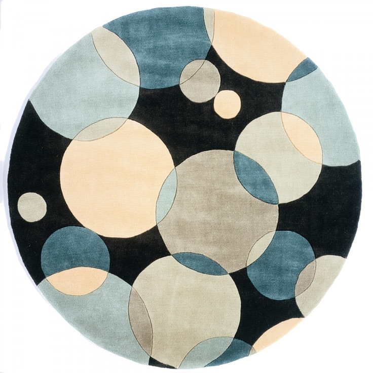 Good New Wave 37 Teal Contemporary Round Rug   By Momeni Rugs