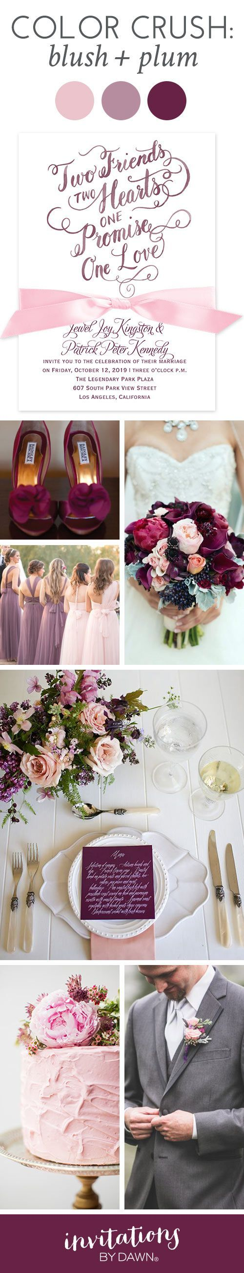Wedding Color Crush: Blush and Plum I The contrast between blush and plum is so pretty, it's nearly impossible not be swept away by this romantic wedding color combo. See how well these two colors complement each other, and use these ideas to inspire a few of your own.