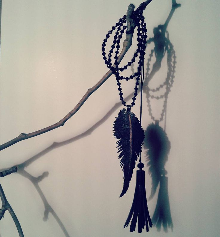 """lookaticons: """"Handmade feather necklace by L_L.♡ #handmade#feather#necklaces#gold#black #leather#crystal#beads#instajewelry#jewelry#greekdesigners#accessories """""""