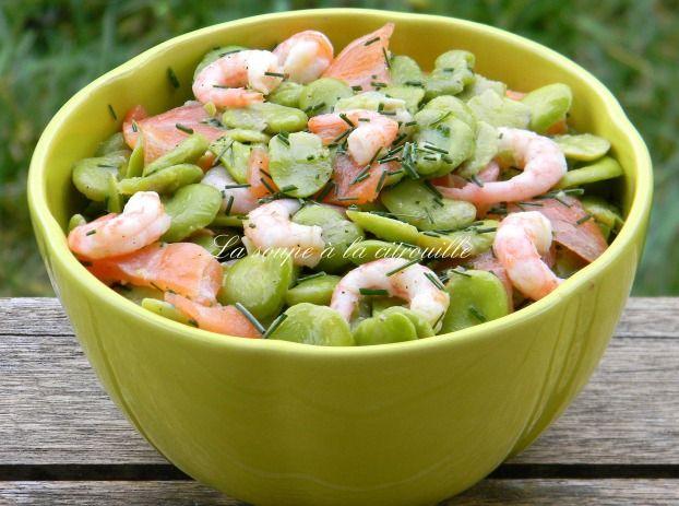 Recette - Salade de fèves au saumon fumé et aux crevettes | 750g