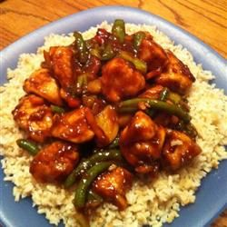 Sweet, Sticky and Spicy Chicken.  Double sauce recipe except sriracha and ginger. Leave out brown sugar. Add red bell pepper and onion.