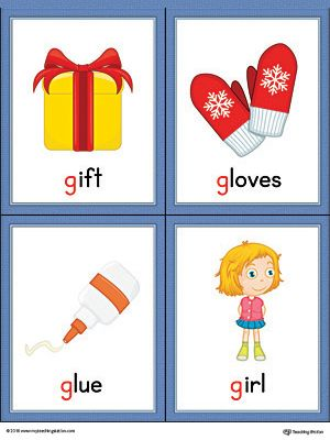 Letter G Words and Pictures Printable Cards: Gift, Gloves, Glue