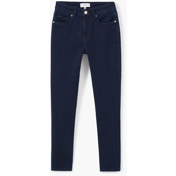 MANGO Skinny Elektra Jeans ($60) ❤ liked on Polyvore featuring jeans, deep dark blue, 5 pocket jeans, super skinny jeans, mango jeans, skinny leg jeans and blue skinny jeans