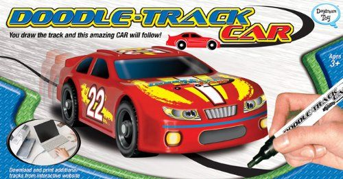 Doodle Track Car. Uses black marker/crayon lines instead of plastic tracks. Awesome!! #toys #toy_cars