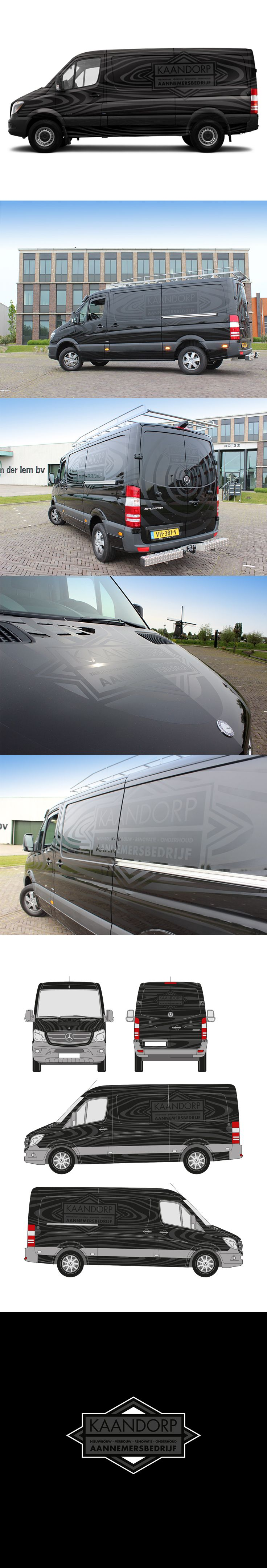 Belettering bedrijfsbus voor Aannemersbedrijf Kaandorp.