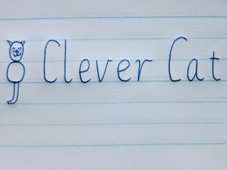 """Clever Cat works as a fun visual aid to assist children in remembering where letters should sit between the lines and their sizing. When we write out all the lower-case letters, we can see that they all sit in Clever Cat's body space. We end up referring to the letters as """"body letters,"""" """"head letters"""" and """"tail letters"""""""