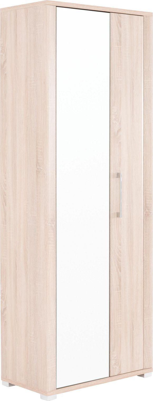 Dieser Garderobenschrank von CANTUS ist ein wunderbares Detail für Ihren Eingangsbereich: Hinter 2 Drehtüren finden auf 5 verstellbaren Einlegeböden und an einer Kleiderstange Ihre Jacken, Mäntel und Accessoires Platz. Im großzügigen Spiegel können Sie den perfekten Sitz Ihres Outfits prüfen, bevor Sie das Haus verlassen. Die helle Eichenuance lässt Ihre Garderobe zudem einladend und freundlich wirken. Nutzen Sie diesen praktischen Garderobenschrank von CANTUS als chicen