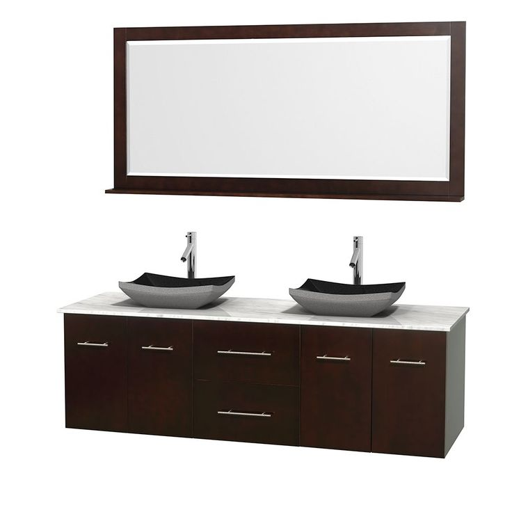 Wyndham Collection Centra 72-inch Double Bathroom Vanity in Espresso, w/ Mirror (Black Granite, Ivory Marble or White Carrera) (Espresso,WTCarreraTop,Avalon Car Sinks,70 Mir), Brown, Size Double Vanities