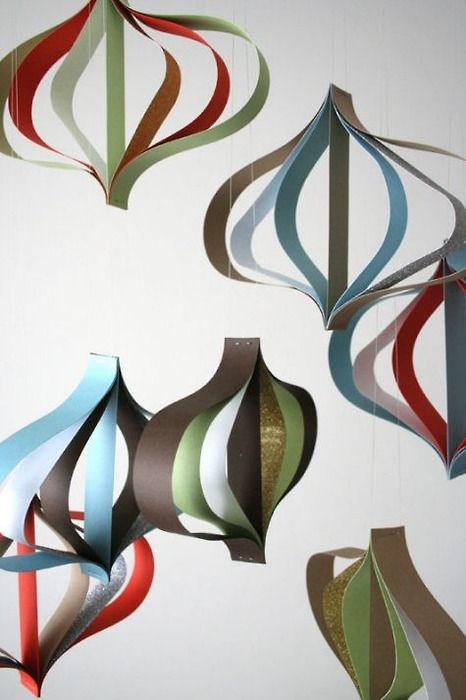 These paper ornaments are fun and simple.
