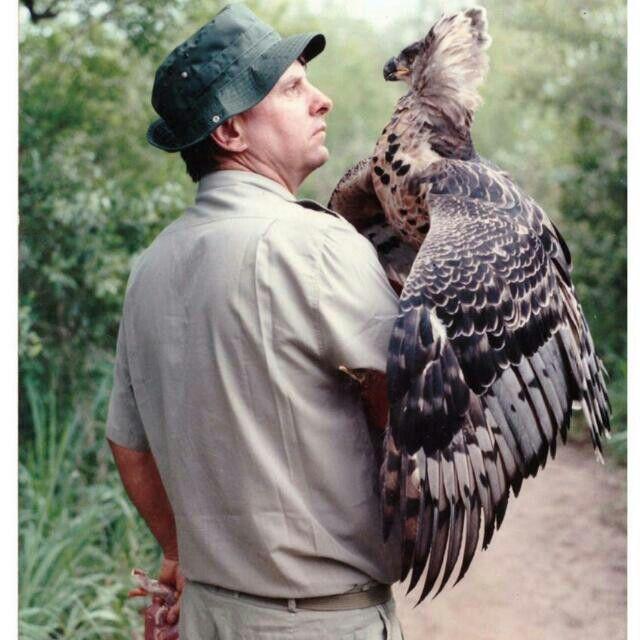 Brain Jones.....holding a beautiful bird at Moholoholo Rehab Centre