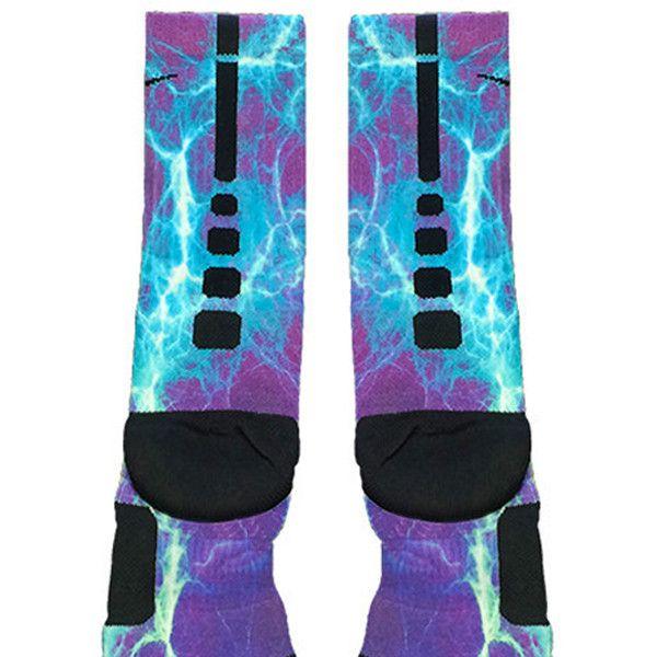 Kaboom Teal Purple Custom Nike Elite Socks