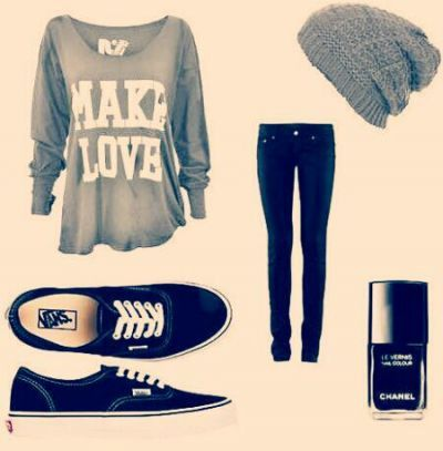 Cute Outfits With Vans | cute ! with no idea - Shirt, Chanel - nailpolish, Vans - shoes | on ...
