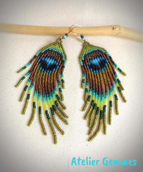 Long earrings seed beads fringes Peacock feather by AtelierGemmes