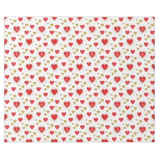 Fancy Red and Gold Hearts Valentines Print Wrapping Paper