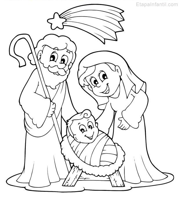 Nacimiento En Belen Nino Jesus Maria Y Jose Estrella De Navidad Dibujo Belenes De Navidad Belenes