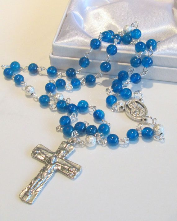 Blue Gemstone Rosary First Communion Gift by AwfyBrawJewellery