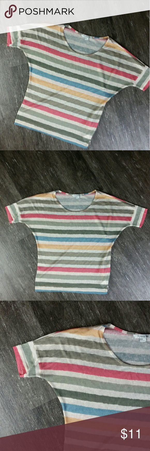 Springy Stripes E20 Forever 21 Wide Stripe Short Sleeve Knit Shirt Blue Yellow Beige Pink Medium Batwing, Soft, Stretch, Comfort, Cute  23 INCH TOTAL LENGTH MEASURED CENTER BACK FROM NECK TO BOTTOM OF SHIRT 19 INCH LENGTH MEASURING SIDE SEAM UNDERARM TO BOTTOM OF SHIRT 48 INCH BUST Forever 21 Tops