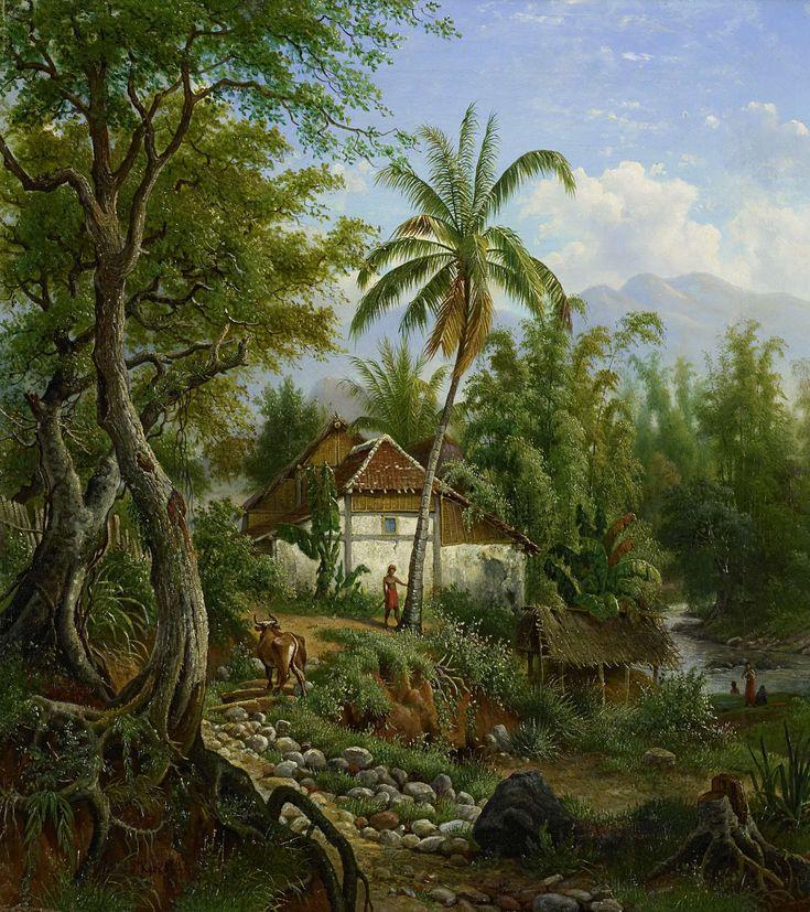 Indisch landschap, Maurits E.H.R. van den Kerkhoff, 1858 - 1900