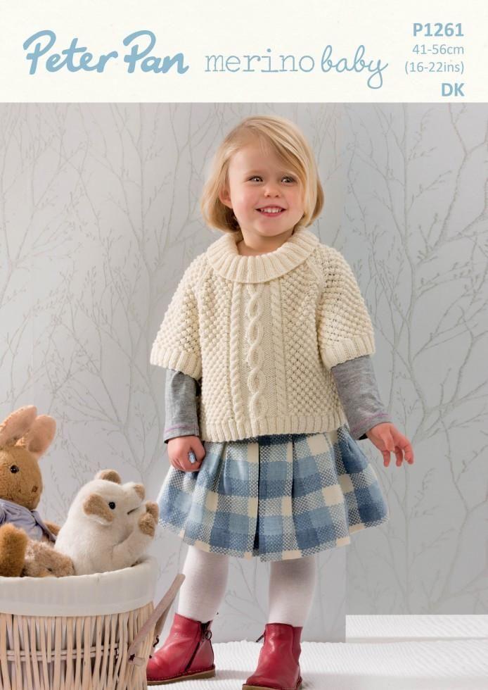 Wendy Peter Pan P1261 Poncho Sweater use Peter Pan Merino Baby DK yarn (#3) weight. Sizes newborn to 2 years.