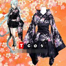 2017 Goku Raku Joudo Anime Kimono Maid Dress flor de Cerezo Negro Cospaly Trajes O