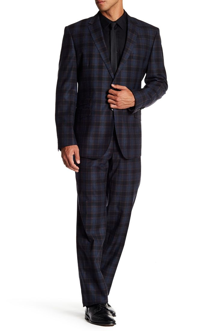 Navy/Brown Plaid Notch Lapel Trim Fit Two Button Wool Suit