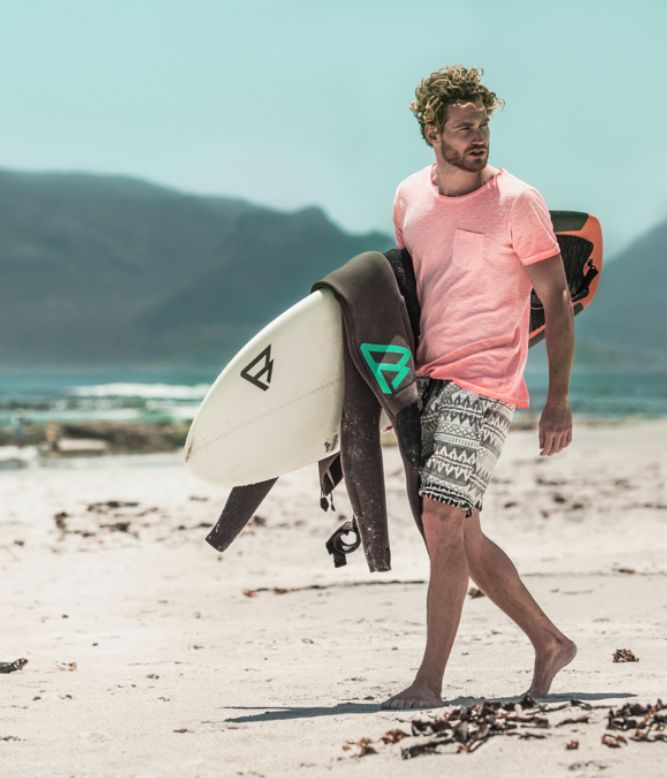Brunotti all board Sports 16 campaign men available at brunotti.com #GetonBoard - shorts / t-shirts / wetsuits / board / surf