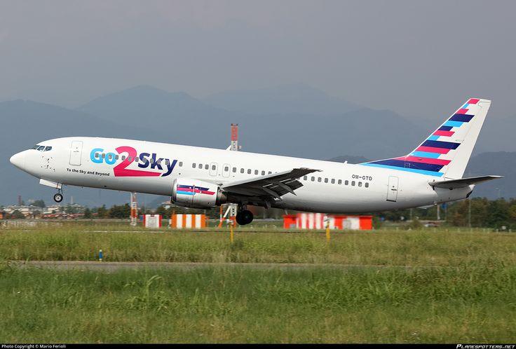 Go2Sky Boeing 737-46J OM-GTD aircraft, on short finals to Italy Bergamo Orio al Serio '' II Caravaggio''  International Airport. 29/08/2016.