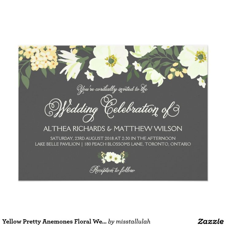 tulip wedding invitation templates%0A Yellow Pretty Anemones Floral Wedding IV Card Elegant wedding invitation  featuring yellow and white anemones on a gray background