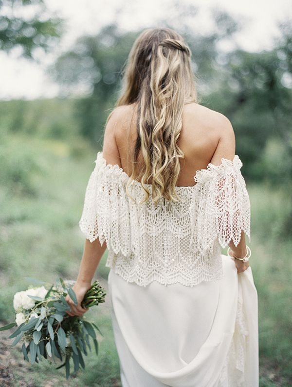 off the shoulder lace bohemian wedding dress -- a subtle cream and green aesthetic