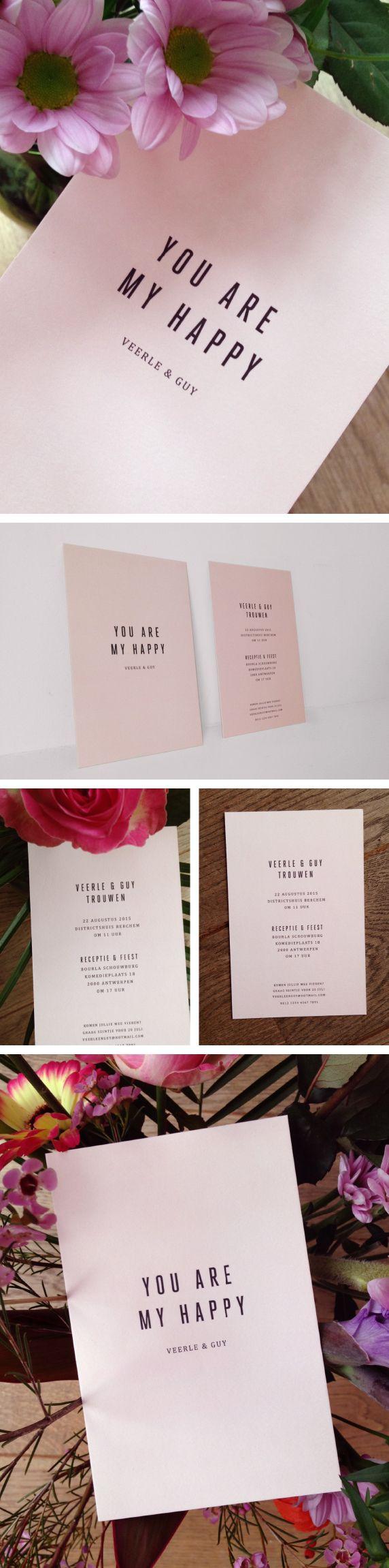 wedding, invitation, pink, you are my happy, love, typo, strak, eenvoud, roos, trouwuitnodiging, minimal, love quote