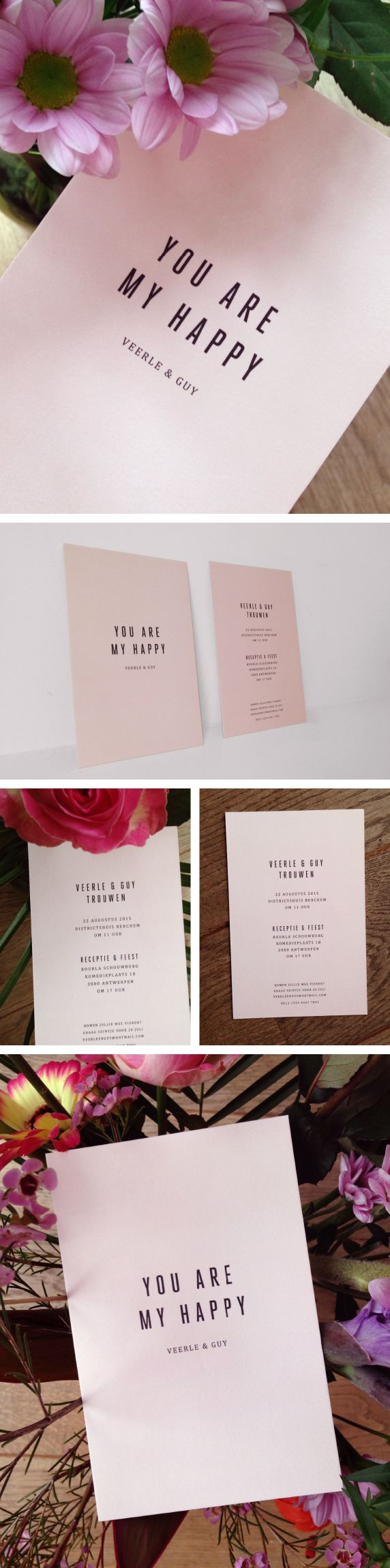 wedding, invitation, pink, you are my happy, love, typo, strak, eenvoud, roos, trouwuitnodiging, minimal, love quote