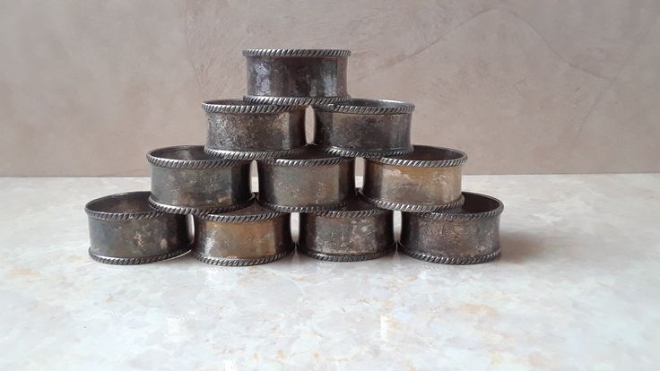 Vintage Silverplate Napkin Rings, 10 Piece Silver Tone Metal Napkin Rings, Silver Plate Metal Napkin Holder Set Made in India, Metalware