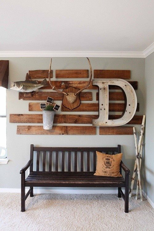 wood from pallet, large letter, antlers, fish, metal cont.  Bench, birch branches, burlap pillow