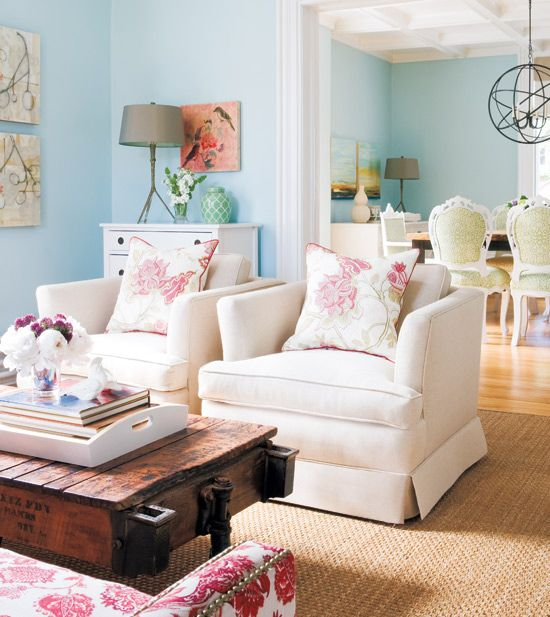 Love these colors.  The chairs in the dining room are to die for.Coffe Tables, Decor, Wall Colors, Ideas, Dining Room, Coffee Tables, Living Rooms, Blue Walls, Livingroom