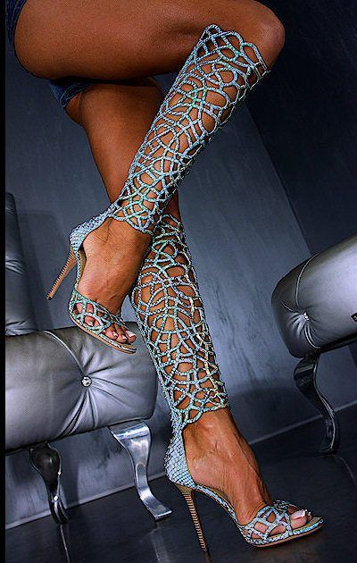 Brilliant Hollow-outs Knee-high Stiletto Sandals by Gianmarco Lorenzi 9638 | 2013 Fashion I could never wear these heels but wow fancy!