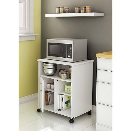 South Shore Fiesta Microwave Cart With Storage On Wheels