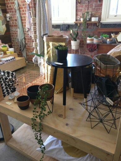 Pots and side table